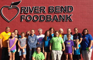 Church group volunteering at River Bend Foodbank